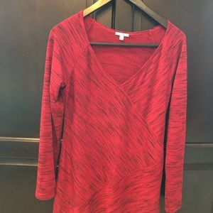 Sophie Max like new red abstract Vneck sweater